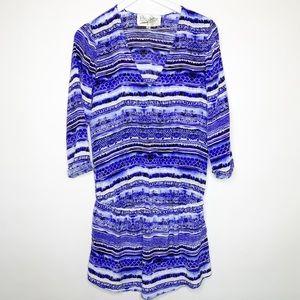 Rory Beca 3/4 Sleeve Blue Watercolor Print Dress